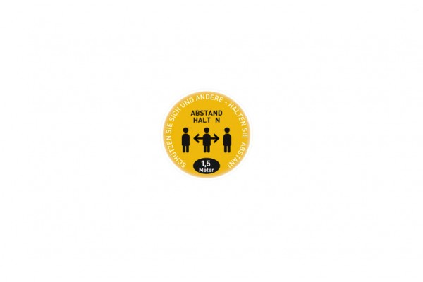 Aufkleber Abstand   Standard gelb   rund 29 cm